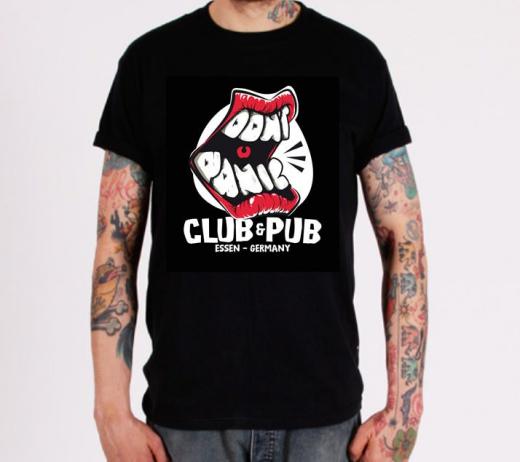 Dont Panic - classic Club logo GIRLIE (black) * Soli-Aktion