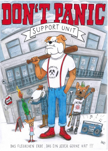 Don´t Panic Support Unit (Poster) GEROLLT + Posterrolle A2 Drawing Hochglanz Lack * Soli-Aktion
