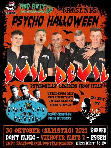 Psycho Halloween Evil Devil & the King Cat- Live! (Ticket) 30.10.2021 Dont Panic Essen
