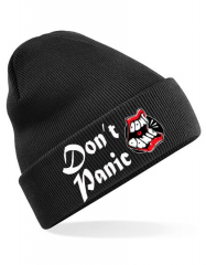 Dont Panic - Club Logo Beanie (black) * bestickte Wollmütze Soli-Aktion