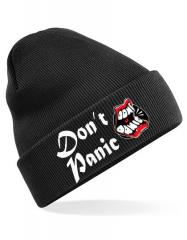 Dont Panic - Club Logo Beanie (black) * bestickte Wollmütze Soli-Aktion